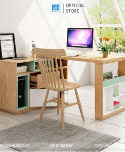 Khi bàn làm việc và tủ sách xoay dạng chữ L