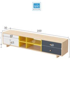 Kệ tivi để sàn dài 160cm nhiều màu (trắng, sồi, xanh đen, vàng)