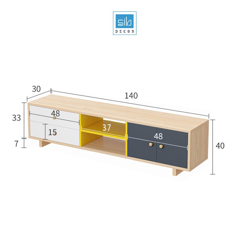 Kệ tivi để sàn dài 140cm nhiều màu (trắng, sồi, xanh đen, vàng)