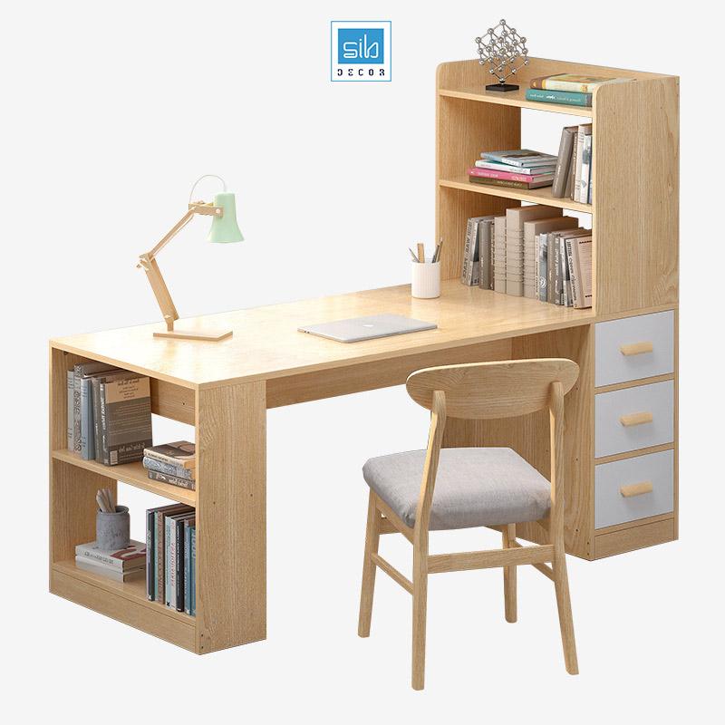 Bàn làm việc và tủ sách (tủ sách bên phải)