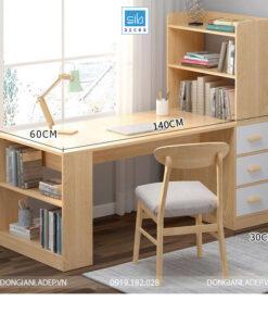 Kích thước chi tiết bàn làm việc và tủ sách BLV01