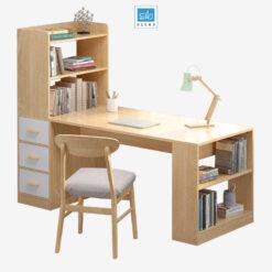 Bàn làm việc và tủ sách (tủ sách bên trái)