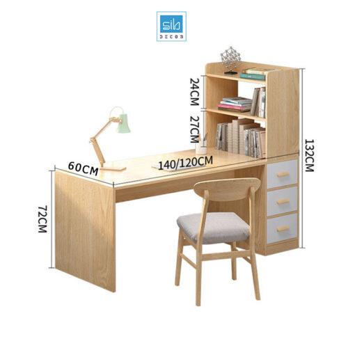 Kích thước Bàn làm việc và kệ sách BLV02