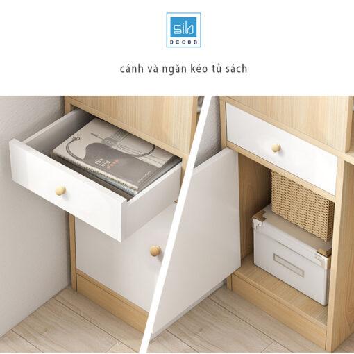 Hệ tủ sách thiết kế với 1 ngăn kéo và 1 cánh tủ.