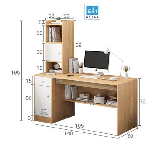 Kích thước bàn học và kệ sách BLV05