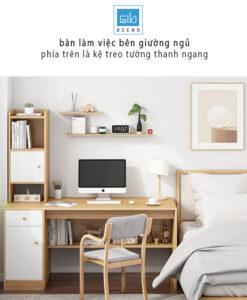 Góc học tập với bàn làm việc kèm kệ sách BLV05 trong phòng ngủ