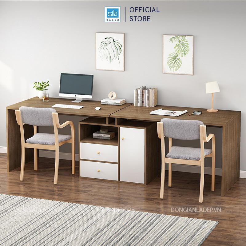 2 mặt bàn và 1 tủ, phương án tổ chức không gian làm việc hữu hiệu cho 02 người