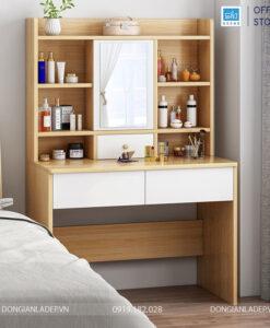 Màu vân gỗ sồi hiện đại với 2 ngăn kéo lớn, 1 ngăn kéo nhỏ và 1 cánh gương soi