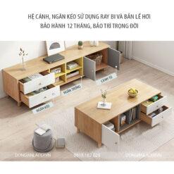 Chi tiết các ngăn kéo, cánh tủ bàn trà và kệ tivi