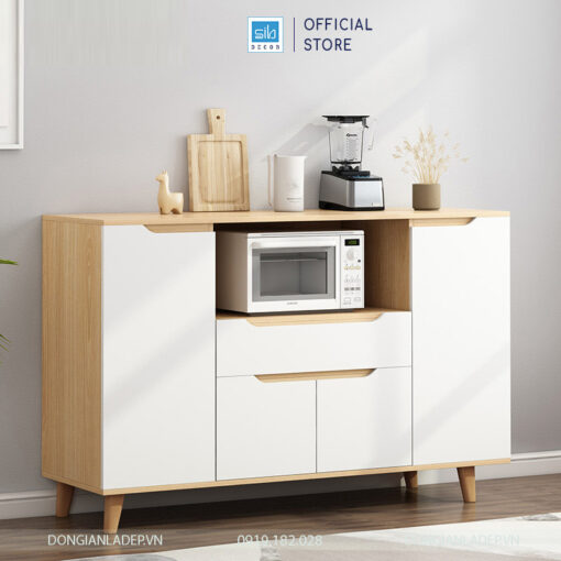 Tủ bếp hiện đại với thiết kế tay nắm cách điệu, hệ chân gỗ tự nhiên chắc chắn
