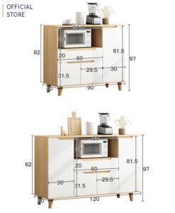 Kích thước chi tiết kệ gỗ nhà bếp KG22