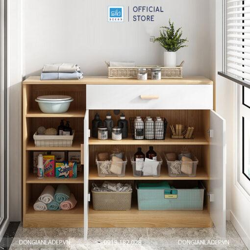 Tủ thiết kế nhiều ngăn với 02 cánh và 1 ngăn kéo. Sử dụng tay nắm gỗ tự nhiên