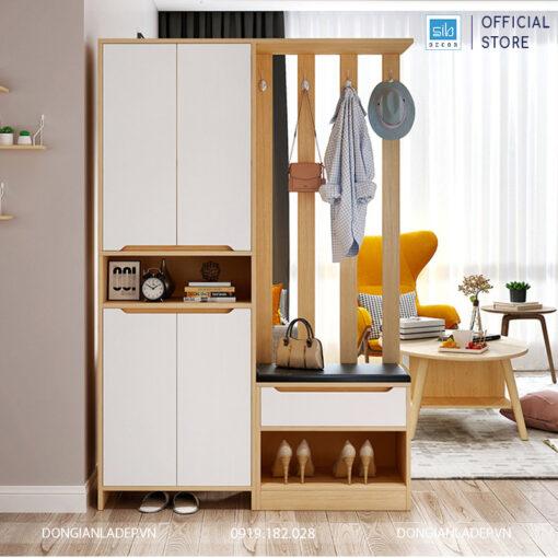 Tủ gỗ đa năng: để giày có ghế, tủ để đồ, vách ngăn phòng hiện đại