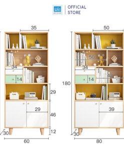 Kích thước chi tiết tủ gỗ 180x60x30cm và 180x80x30cm