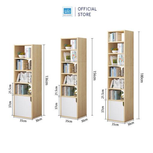 Kệ sách gỗ có 3 kích thước để bạn lựa chọn. Kích thước các tầng được được tối ưu hóa với những cuốn sách tham khảo có chiều cao