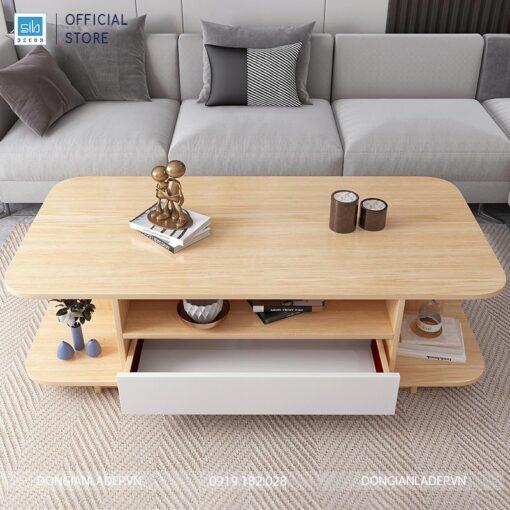 Bàn trà phòng khách màu trắng + Vân gỗ sồi