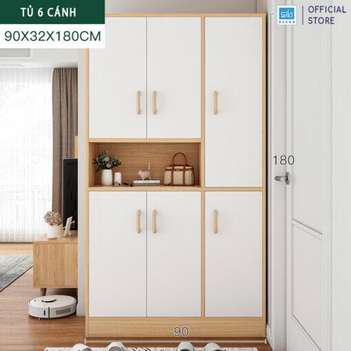Tủ để giày và để đồ cỡ lớn 180x90x32cm màu trắng + sồi.
