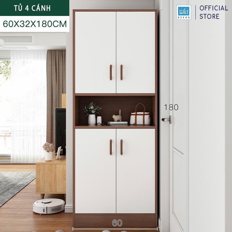 Tủ để giày và để đồ cỡ lớn 180x60x32cm màu trắng + walnut.