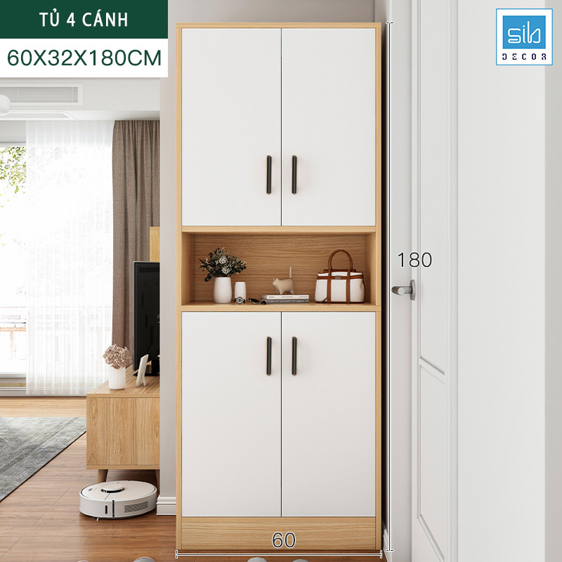Tủ để giày và để đồ cỡ lớn 180x60x32cm màu trắng + sồi.