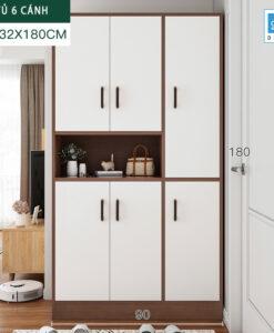 Tủ để giày và để đồ cỡ lớn 180x90x32cm màu trắng + walnut.