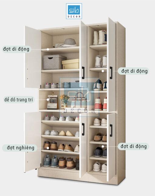 Các ngăn chia bên trong tủ.
