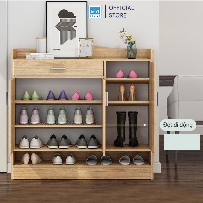 Tủ giày các ngăn được chia đợt ngang di động (cs thể điều chỉnh chiều cao)