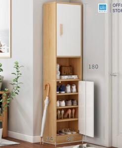 Tủ gỗ TG14 màu trắng + sồi kích thước 180x40x34cm