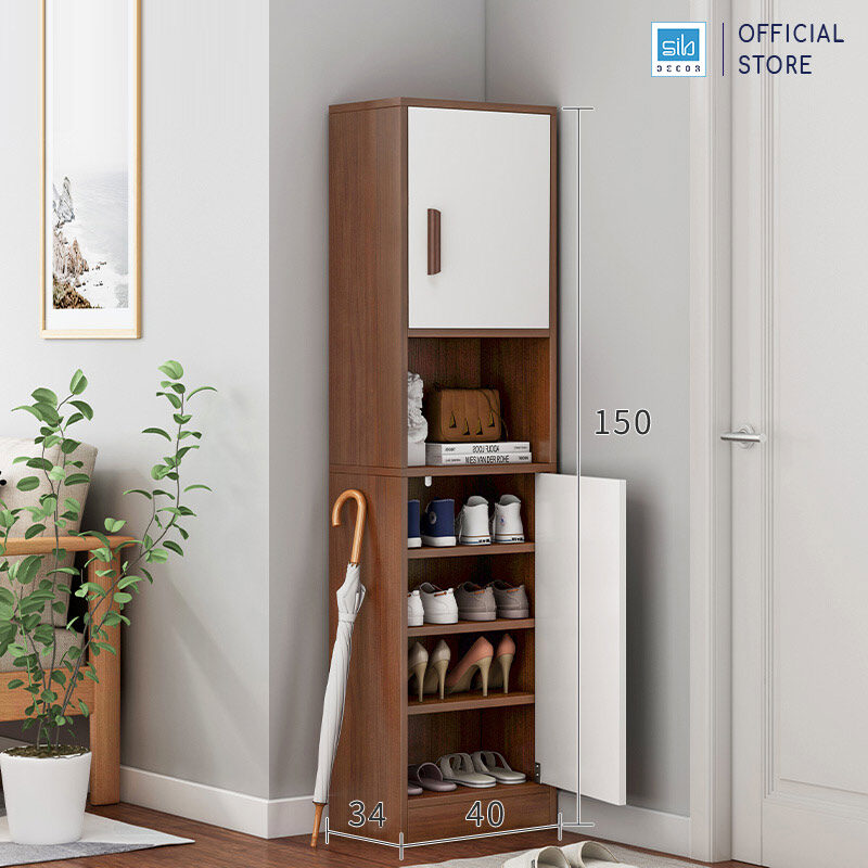 Tủ gỗ TG14 màu trắng + walnut kích thước 150x40x34cm