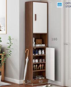 Tủ gỗ TG14 màu trắng + walnut kích thước 180x40x34cm
