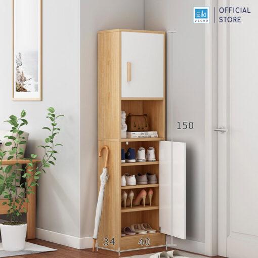 Tủ gỗ TG14 màu trắng + sồi kích thước 150x40x34cm