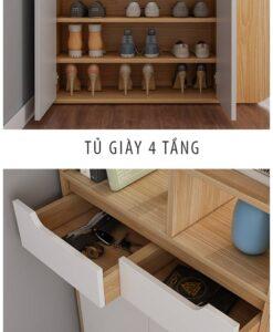 Hệ ngăn kéo và tủ được chia nhiều tầng để giày dép, đồ vặt khác như chìa khóa, kính, ví...