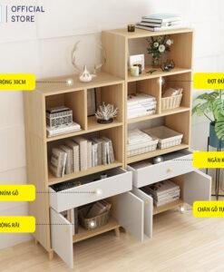 Thiết kế của kệ KSG39 gồm hệ chân gỗ tự nhiên, 2 cánh tủ, 1 ngăn kéo và hệ ngăn kệ đơn giản phía trên
