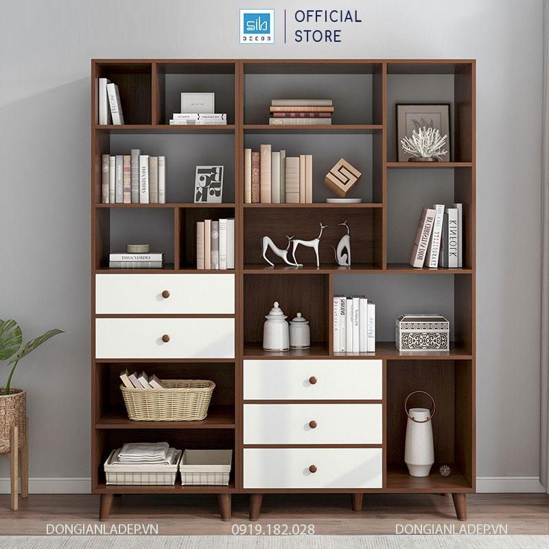 Combo 2 tủ sách màu trắng và vân gỗ nâu. Kích thước tổng thể 175x130x30cm (cao x dài x rộng)