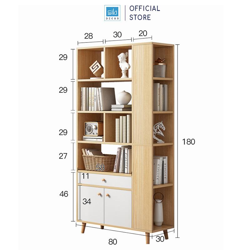 Kích thước tủ sách 2 cánh và 1 ngăn kéo: 180x80x30cm
