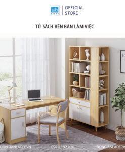 Tủ sách hiện đại cùng với bàn làm việc