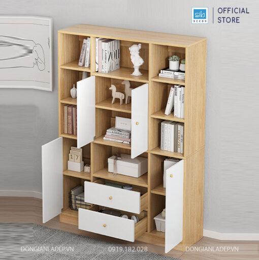 Hệ tủ gồm nhiều ngăn kệ với 2 ngăn kéo, 4 cánh tủ