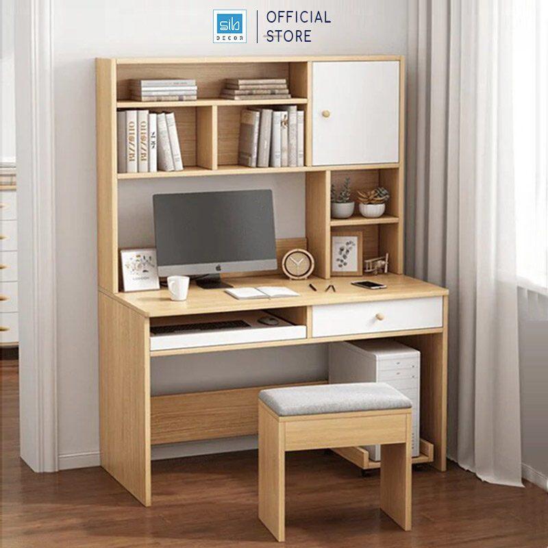 Bàn máy tính làm việc màu vân gỗ sồi phối trắng