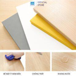 Chất liệu gỗ HMR chống ẩm phủ melamine chống trầy, kháng nước, bền màu.