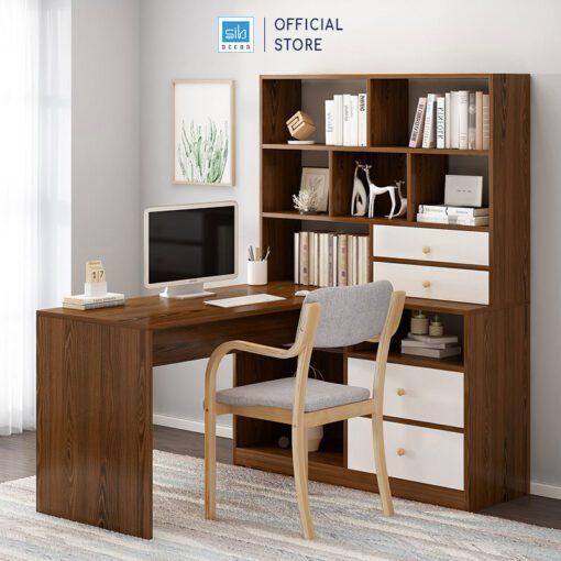 Bàn máy tính và tủ sách màu trắng + walnut nâu sang trọng (tủ sách bên trái)