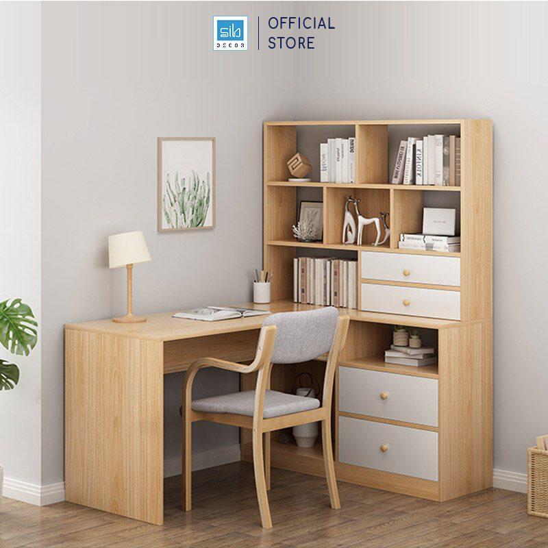 Bàn làm việc liền tủ sách gỗ màu vân sồi phối trắng (tủ sách bên Phải)