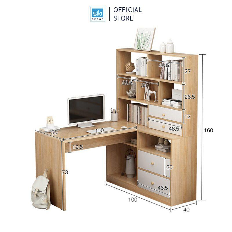 Kích thước chi tiết của bàn và tủ sách (bên trái)