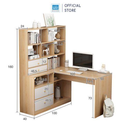 Kích thước chi tiết của bàn và tủ sách (bên phải)