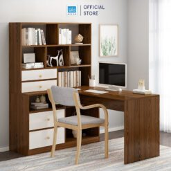 Bàn máy tính và tủ sách màu trắng + walnut nâu sang trọng (tủ sách bên phải)