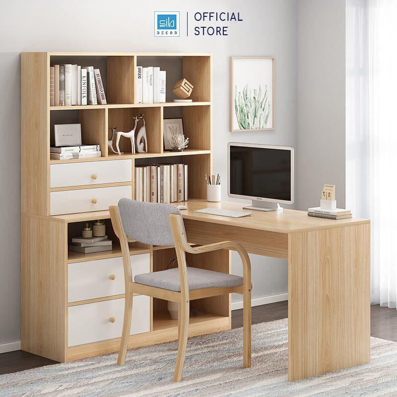 Bàn làm việc liền tủ sách gỗ màu vân sồi phối trắng (tủ sách bên trái)